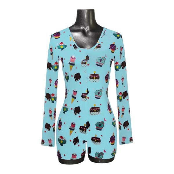 Цельная пижама для взрослых, комбинезон с принтом на заказ для женщин, женская ночная домашняя одежда оптом