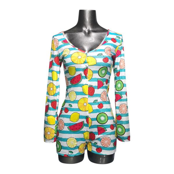 One Piece Sleepwear Womens, Женская печать обтягивающих пижам, Заводская цена на женское ночное белье Onsies