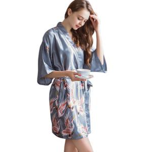Women's Short Silk Robe,Custom Size and High Quality Women Robes,Wholesale Nighty Beauty Pyjamas