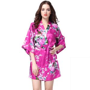 Ladies Silk Robes,Pringing Design Fashion Women Robes,Factory Price Female Robes Sleepwear Satin