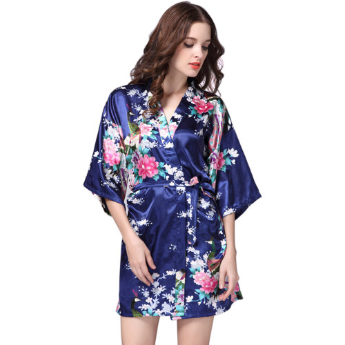 السيدات الحرير الجلباب ، Pringing تصميم أزياء النساء الجلباب ، سعر المصنع الجلباب الإناث ملابس النوم الساتان