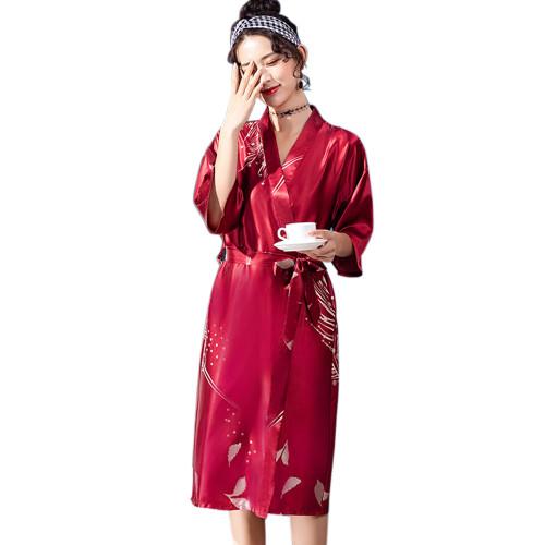 رداء حريري طويل زائد الحجم للمرأة ، رداء حمام نسائي بطول الركبة ، ملابس نوم طويلة بطول الركبة بالجملة