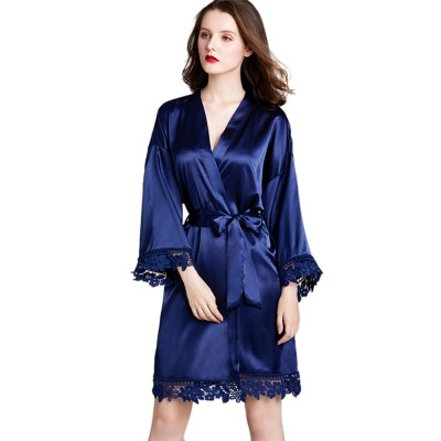 رداء طويل الأكمام مريح ، أردية فضفاضة من الدانتيل والحرير مقاس كبير ، ملابس نوم للسيدات بالجملة
