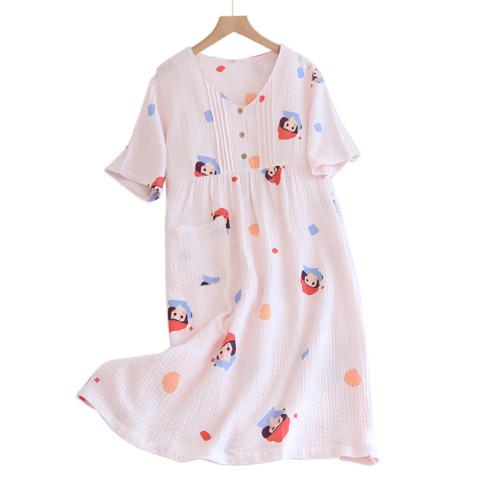 قميص نوم نسائي مطبوع ، ملابس منزلية ذات مقاس مخصص للنساء ، فستان نوم نايتي فضفاض بالجملة