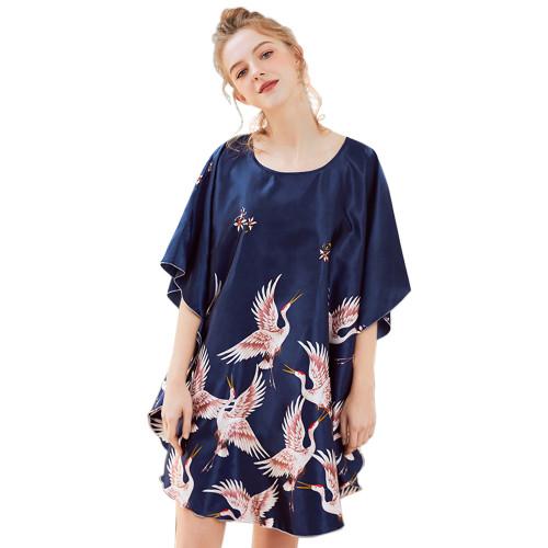 ملابس نوم حريرية بمقاسات كبيرة ، ملابس نوم نسائية أنيقة بطباعة جميلة ، ملابس نوم فضفاضة غير رسمية للبيع بالجملة