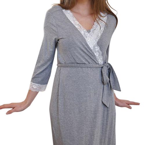 بيجامات نوم للنساء ، فستان نوم برقبة على شكل حرف V مقاس كبير للنساء ، بيجامات بالجملة ساتان ملابس نوم للسيدات