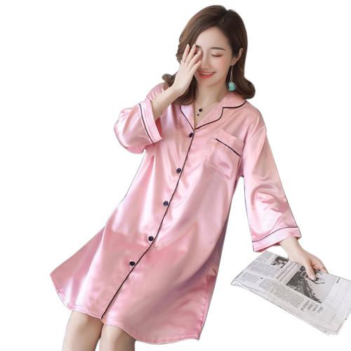قمصان نوم مريحة بأكمام طويلة ، بيجامات حريرية فضفاضة للنساء برقبة على شكل حرف V مخصصة ، قمصان نوم نسائية كبيرة الحجم للبيع بالجملة