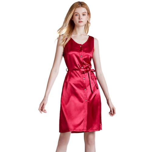 ملابس نوم ملابس نوم ، ملابس منزلية فضفاضة من الساتان والحرير ، ثوب نوم غير رسمي بطول الركبة بالجملة