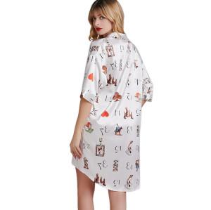 ملابس نوم للسيدات نايتي ، بيجامات نسائية بطول الركبة ، طباعة جمال ملابس مقاس مخصص بالجملة