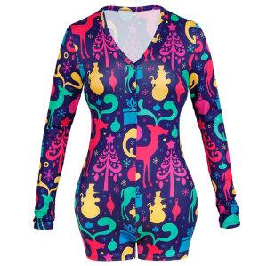 ملابس نوم للكبار من قطعة واحدة ، ملابس منزلية بطبعة نحيفة وعصرية ، بيجامات نسائية بالجملة