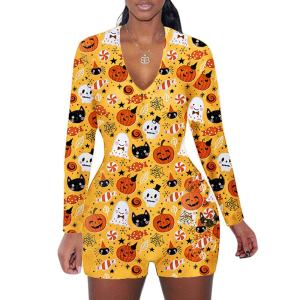 Пижамы больших размеров на Хэллоуин, женские пижамы, тонкие комбинезоны, ледяное шелковое ночное белье, заводская цена