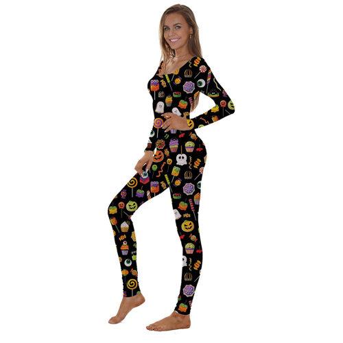 بيجاما نيسيي للهالوين ، بنطلون بأكمام طويلة ونحيف للنساء ، ملابس نوم نسائية مصنّعة