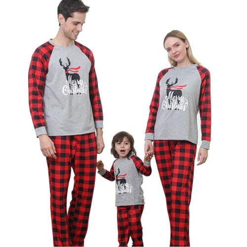 مطابقة منامة عيد الميلاد ، موضوع ارتداء ملابس النوم الشعور بالراحة ، خدمة OEM ODM طويلة الأكمام قطنية شعرية