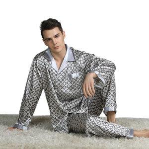 Шелковая пижама, короткий комплект, мужской, европейский и американский тонкий стиль, эластичная резинка для сна для сна с лацканами