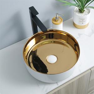 luxuriöse runde Form goldene Farbe Arbeitsplatte Waschbecken Keramik Bad Waschbecken Großhandel