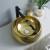 Proceso de dibujo de estilo de lujo sanitarios lavabo de cerámica baño color dorado lavabo único lavabo al por mayor