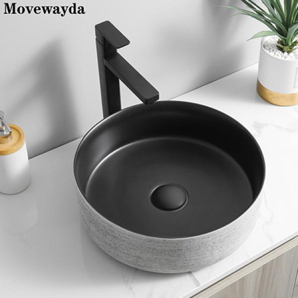 Round ceramic matte black art countertop bathroom wash basin wholesale