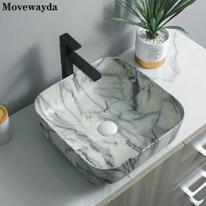Impresión de transferencia de agua de estilo chino con lavabo de encimera de baño cuadrado de cerámica al por mayor