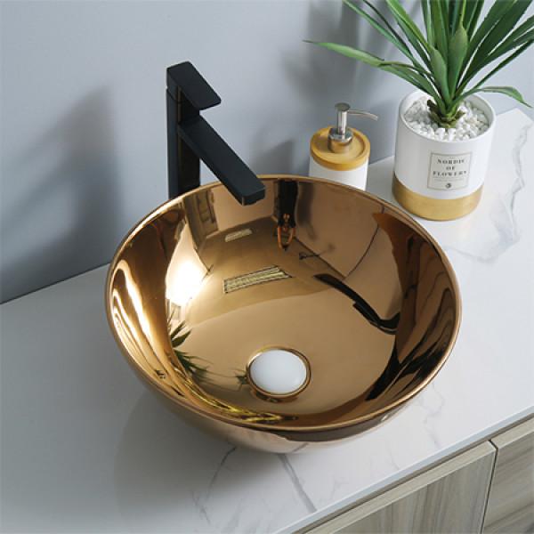 Venta caliente lavabo de baño de oro rosa completo al por mayor lavabo de cerámica redondo lavabo de encimera de electrochapado artes al por mayor