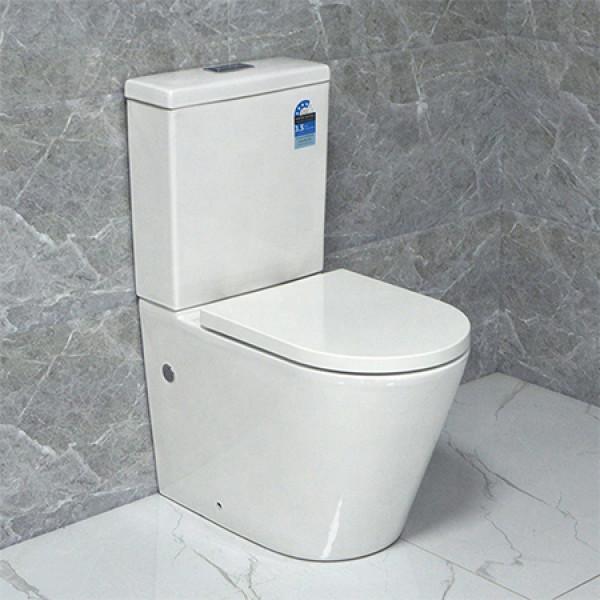 WC marca de dos piezas inodoro marca de agua estándar australiano de nuevo a pared inodoro sin reborde al por mayor