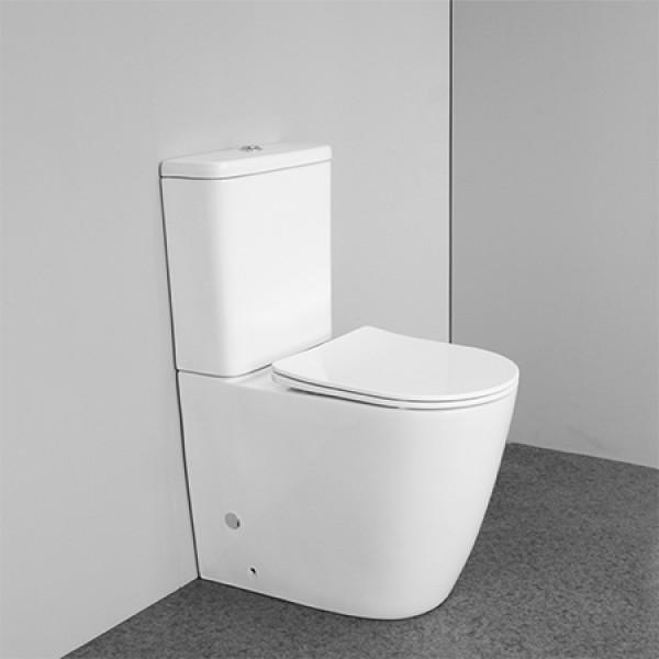 Modernes australisches Standardbadezimmer Keramik Dual Flush randlose bodenmontierte zweiteilige Toiletten