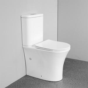 Europäische Norm Bodenmontage Doppelspülung Wasserzeichen Toilette Randlose Toilette P-Falle zweiteilige Toilette