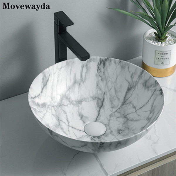 El lavabo del baño de la impresión de la transferencia del agua del nuevo diseño hunde el lavabo redondo de cerámica de la encimera
