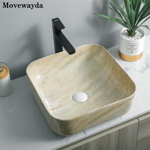 Fregaderos de cerámica del cuarto de baño del lavabo del lavabo del estilo de la impresión de la transferencia de la hidrografía de la forma cuadrada de cerámica del alto grado