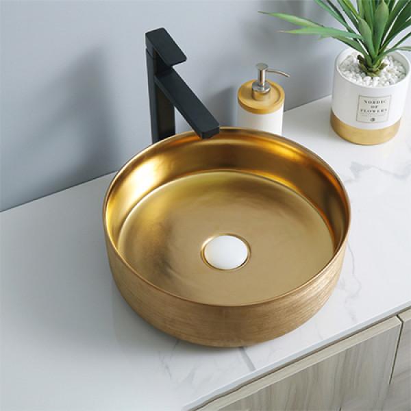 Goldwaschbecken aus europäischem Stil Keramik mit runder Form und Arbeitsplatte