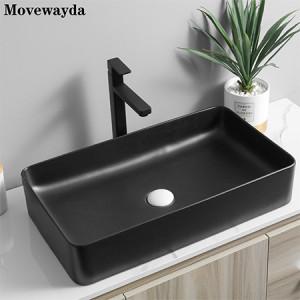 Rectangular ceramic counter black countertop sink for lavatory vanity cabinet