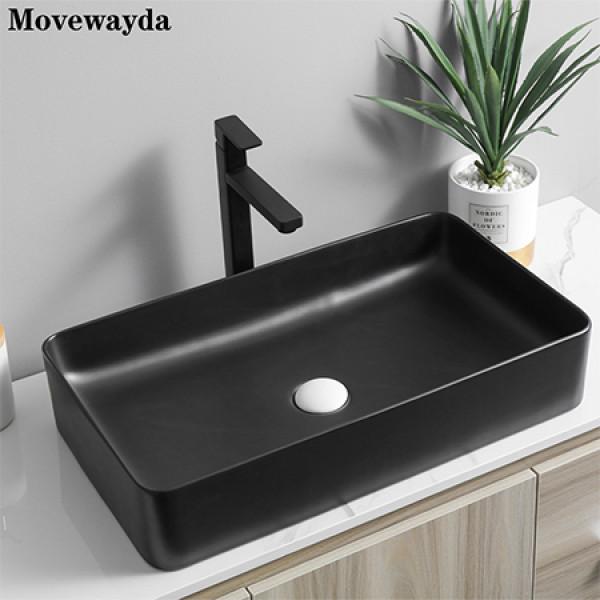 Lavabos de baño de encimera de lavabos de arte negro mate de cerámica de forma rectangular elegante moderna
