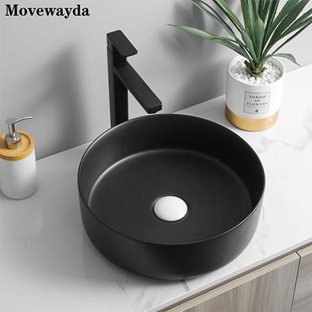MWD Modern porcelain above counter matte black ceramic vessel sink for bathroom