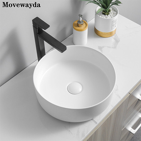 Matte white color ceramic wash basin acceptable customized for hotel