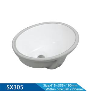 Longitud 415 mm lavabo semiencastrado lavabo ovalado lavabo de baño artículos sanitarios lavabo bajo encimera lavabo bajo encimera