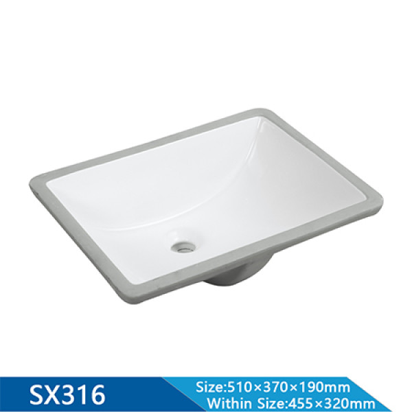 Lavabo rectangular semi empotrado de 510 mm de longitud, artículos sanitarios para baño, lavabo inferior