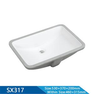 Length 530mm Semi-Recessed Rectangle Undermount Basin Sink for Bathroom