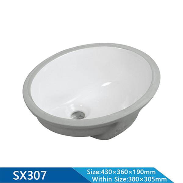 Länge 460 mm halb eingelassenes ovales Waschbecken Bad Sanitärkeramik Unterwaschbecken