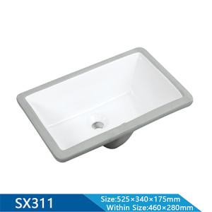 Longitud 525 mm lavabo semiempotrado lavabo de cerámica al por mayor lavabo rectangular lavabo de baño lavabo al por mayor bajo encimera