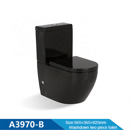 Washdown flushing black two piece toilet with soft close seat ceramic wholesale