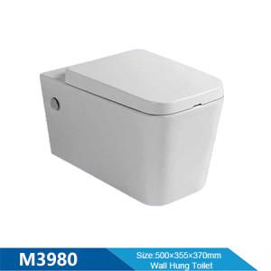 Inodoro suspendido último diseño de cerámica de una pieza pequeño diseño compacto P trampa inodoro colgante