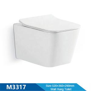 Baño europeo wc rectángulo sartén cerámica color blanco tamaño pequeño sin reborde inodoro colgado en la pared