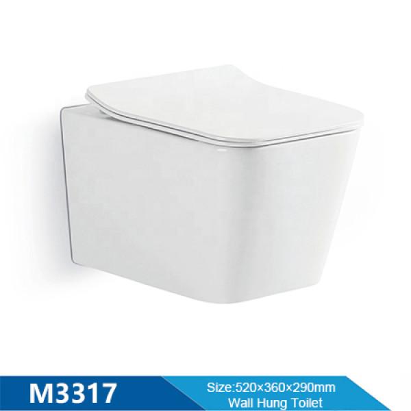 Europäisches Badezimmer WC Rechteck Pfanne Keramik weiße Farbe kleine randlose Wandtoilette