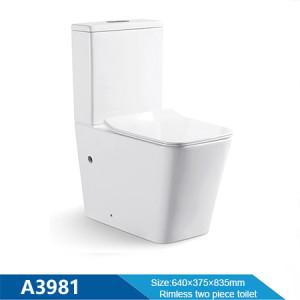 Neue quadratische Pfanne randlose Spülung Badezimmer Toilette Großhandel WC Keramik weiße Farbe zweiteilige Toilette Großhandel