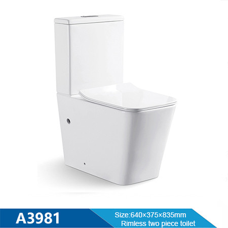 Ceramic New square pan rimless flushing two piece toilet wholesale for bathroom