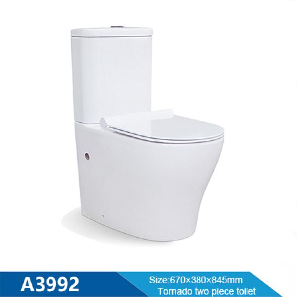 Baño de cerámica moderno inodoro tornado al por mayor inodoro de dos piezas con botón de descarga doble para ancianos