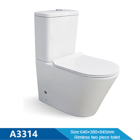 hygienic water closet powerful flush rimless ceramic two piece toilet for hotel