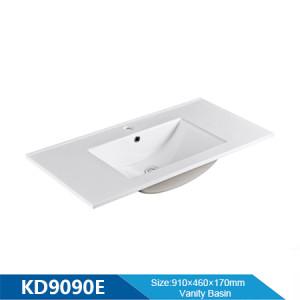Longitud 900 mm fregadero de gabinete de borde delgado lavabo de baño lavabo rectangular al por mayor lavabo de cerámica