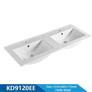 Longitud 1200 mm borde delgado lavabo rectangular lavabo de cerámica lavabo doble lavabo de baño lavabo de tocador