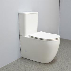 Estilo de hotel color blanco comodidad altura inodoro montado en el piso inodoro sin reborde p-trap doble descarga de nuevo a la pared inodoro de cerámica baño inodoro inodoro al por mayor