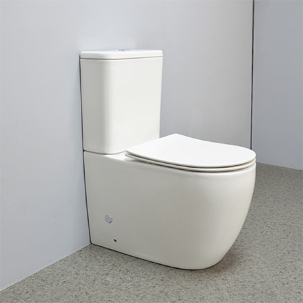 Hotel Stil weiße Farbe Komfort Höhe Toilette bodenmontiert randlose Toilette P-Trap Dual Flush zurück an die Wand Keramik Toilette Bad WC WC Großhandel